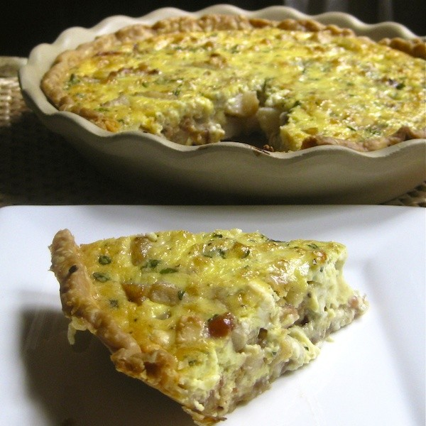 Caramelized Pear, Bacon, and Gorgonzola Quiche