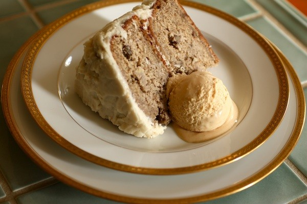 Banana Rum Cake with Salty Caramel Ice Cream