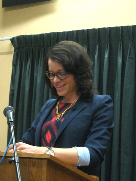 Joy answering questions in Pasadena Feb. 28, 2012