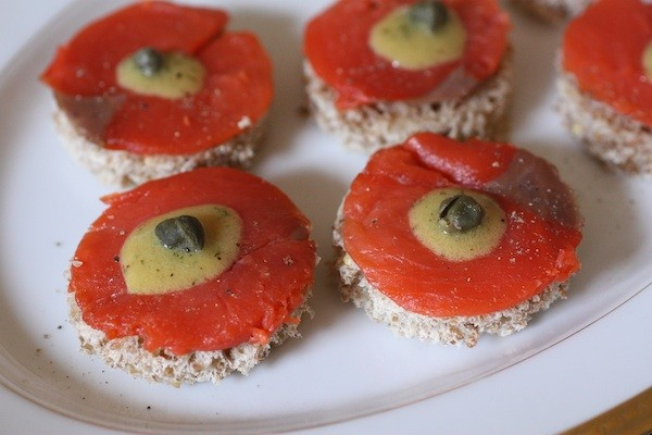 Smoked Salmon Toasts with Honey-Mustard Sauce