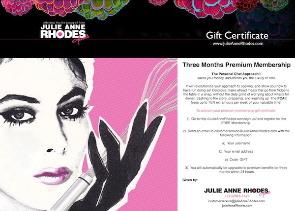3 month gift certificate