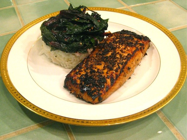 MARINATED SALMON SEARED IN A BLACK PEPPERCORN CRUST