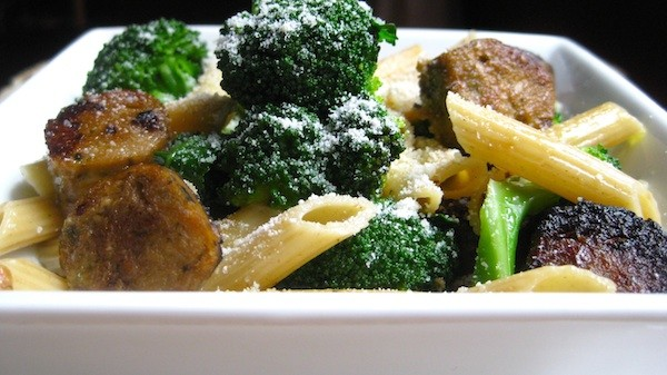 Penne with Broccoli, Broccolini, and Vegan Italian Sausage