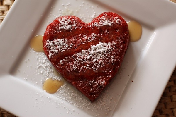 Heart shape red velvet pancakes get Valentines Day started with a romantic breakfast in bed