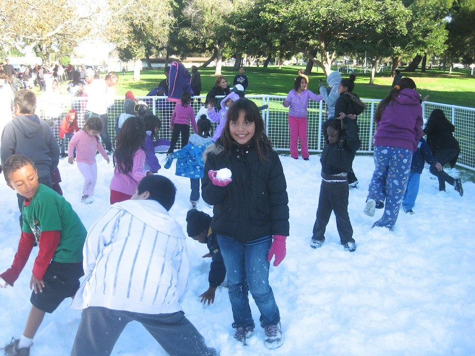 Snowballs and snow castles at the Athens Way Christmas Party December 15th.
