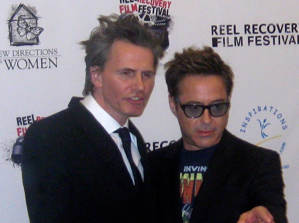 John Taylor & Robert Downey Jr. at the reception before the ceremony