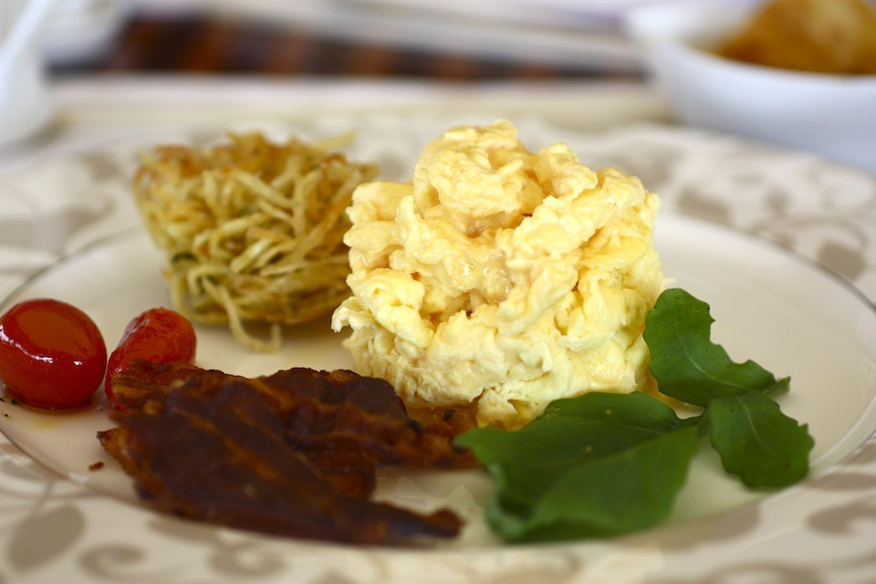 Eat a little scrambled egg and toast when you feel strong enough