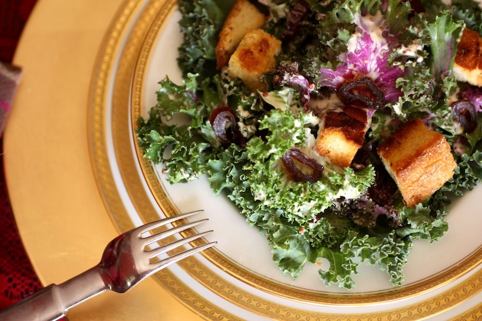 The vegan rendition of my kale Caesar salad I made for my dinner party this week