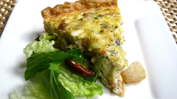 Caramelized Pear, Bacon, & Gorgonzola Quiche