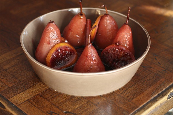 Red Wine & Blood Orange Poached Pears