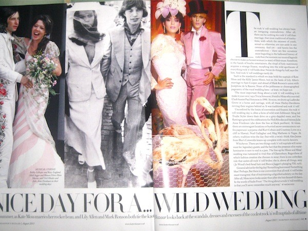 "Harper's Bazaar looks back at the ""dresses and excesses of the coolest rock'n roll nuptials of all time"
