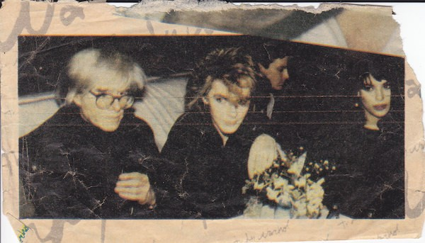 Andy Warhol at Mr. Chow with Nick and Julie Anne Rhodes
