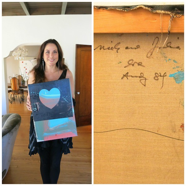 Julie Anne Rhodes at home with the Warhol Heart - a wedding gift from Andy