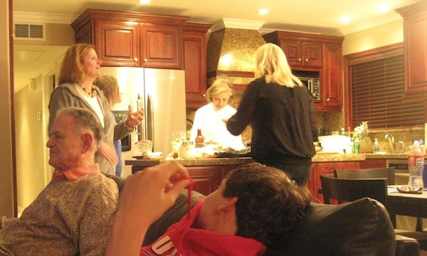 All three generations making Christmas Eve dinner together in Balboa