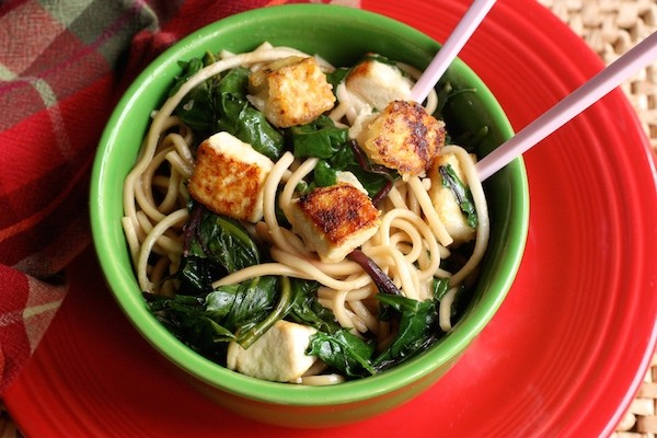 Udon Noodles with Tofu & Greens