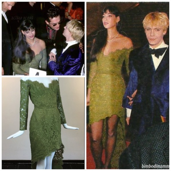 "Green lace ""Alligator dress"" with removable train at the Best Dressed Awards in Paris with Nick Rhodes and Rupert Everett"