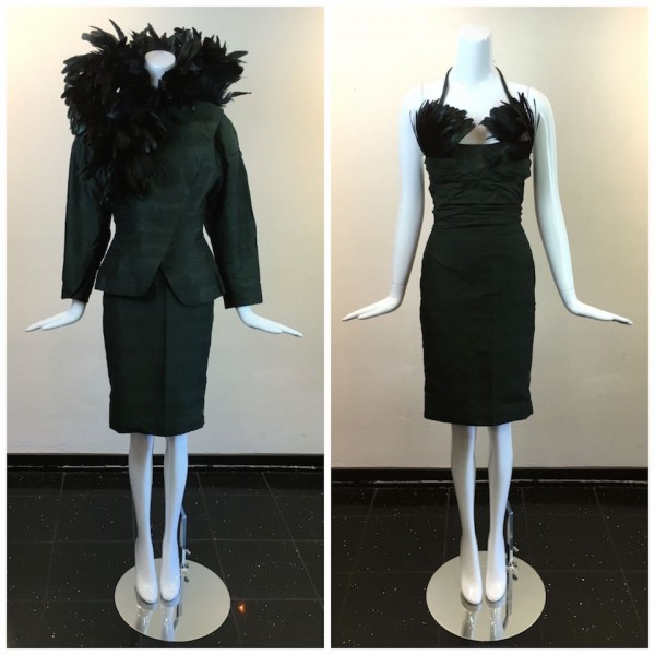 Hunter green feather dress & jacket