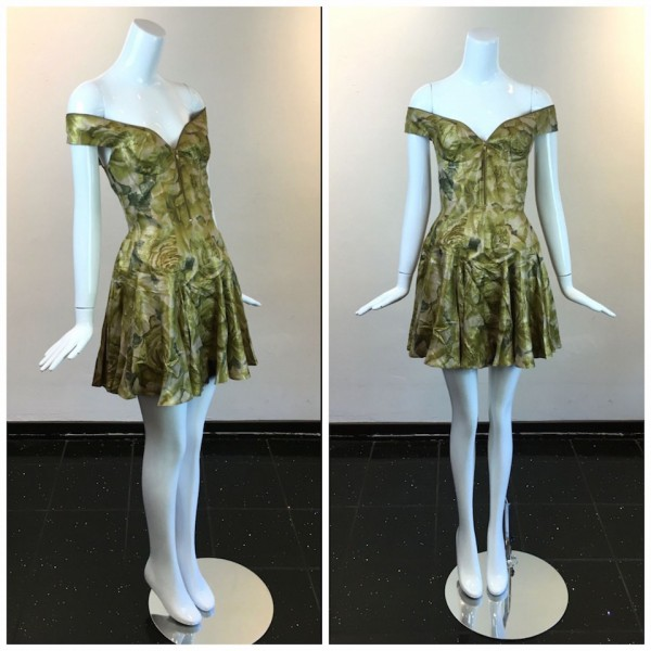 gold floral zipper dress
